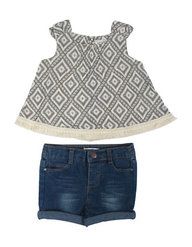 Jessica Simpson Two-Piece Tunic and Denim Shorts Set-GREEN-24 Months