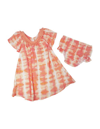 Jessica Simpson Two-Piece Dyed Dress and Bloomers Set-PEACH-12 Months