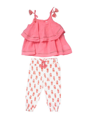 Jessica Simpson Two-Piece Ruffled Tank and Leggings Set-PINK-18 Months