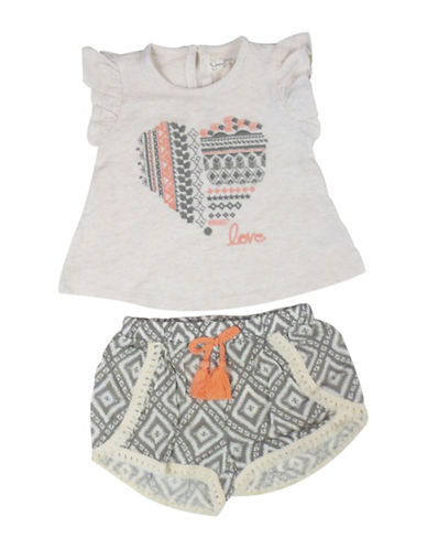 Jessica Simpson Two-Piece Top and Shorts Set-NATURAL-12 Months