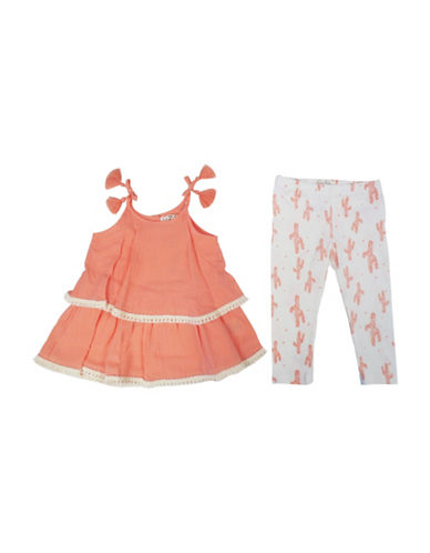 Jessica Simpson Two-Piece Layered Tank Top and Legging Set-PEACH-24 Months