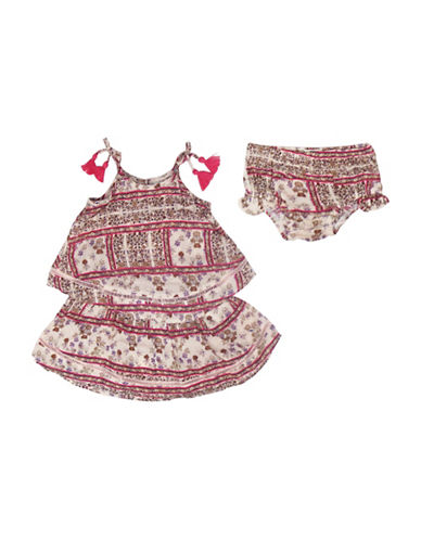 Jessica Simpson Two-Piece Printed Dress and Panty Set-PINK-18 Months