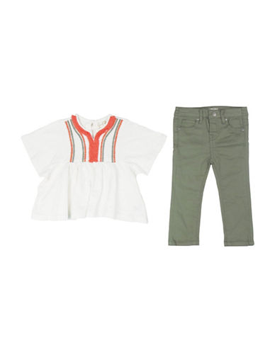 Jessica Simpson Two-Piece Jersey Slub Top and Pants Set-WHITE-12 Months