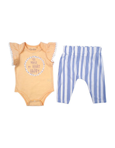 Jessica Simpson Bodysuit and Pants Set-PEACH-0-3 Months
