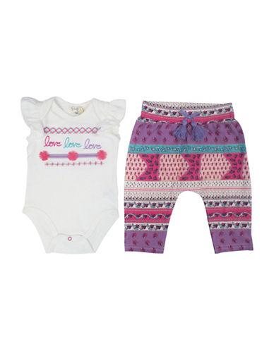 Jessica Simpson Two-Piece Bodysuit and Harem Pants Set-WHITE-3-6 Months