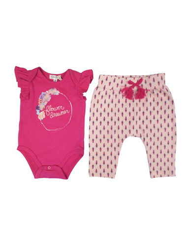 Jessica Simpson Two-Piece Embroidered Bodysuit and Harem Pants Set-PINK-3-6 Months
