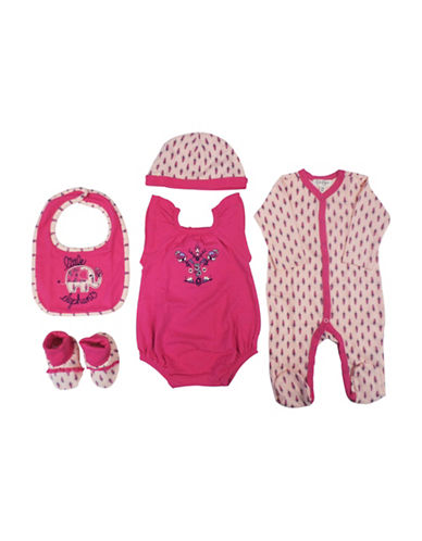 Jessica Simpson Five-Piece Bodysuit, Footie, Beanie, Bib and Booties Set-PINK-0-3 Months