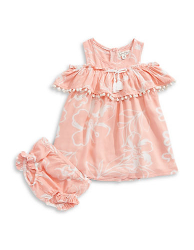 Jessica Simpson Printed Pom-Pom Trim Dress Set-ORANGE-24 Months