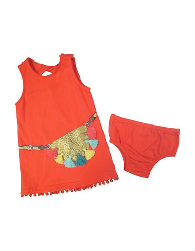 Jessica Simpson Two-Piece Pompom Graphic Dress and Panty Set-ORANGE-18 Months