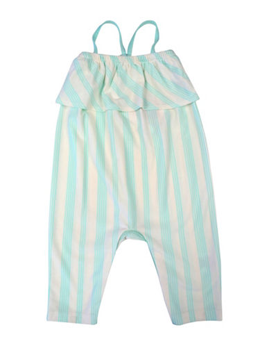 Jessica Simpson Sleeveless Striped Romper-GREEN-0-3 Months
