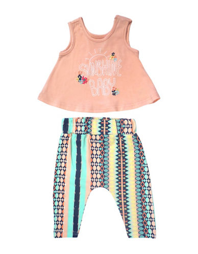 Jessica Simpson Two-Piece Sleeveless Print Top and Pant Set-ORANGE-0-3 Months