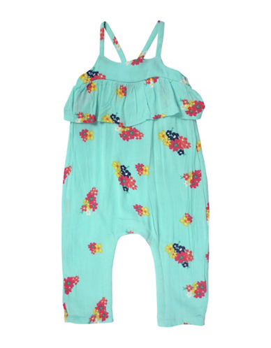Jessica Simpson Printed Romper-GREEN-18 Months