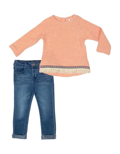 Jessica Simpson Toddler s Two-Piece Cotton Textured Top & Elasticized Pants Set-PEACH-12 Months