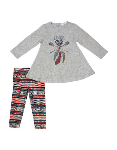 Jessica Simpson Toddler s Two-Piece Cotton Flared Top & Leggings Set-GREY-12 Months