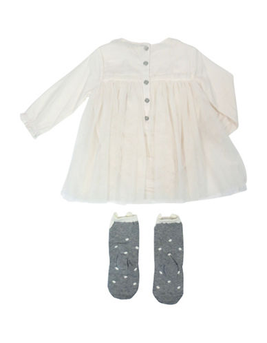 Jessica Simpson Babys Two-Piece Cotton Ruffled Dress & Knee Socks Set-WHITE-3-6 Months
