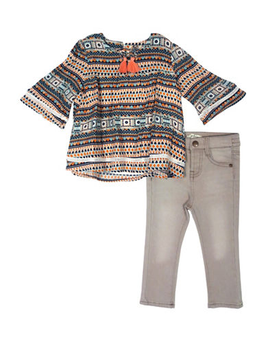 Jessica Simpson Toddler s Two-Piece Printed Top & Faded Pants Set-MULTI-12 Months