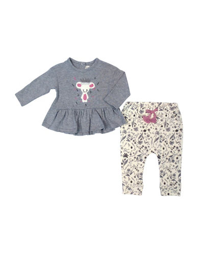 Jessica Simpson Babys Two-Piece Cotton Ruffled Top & Elasticized Pants Set-GREY-0-3 Months