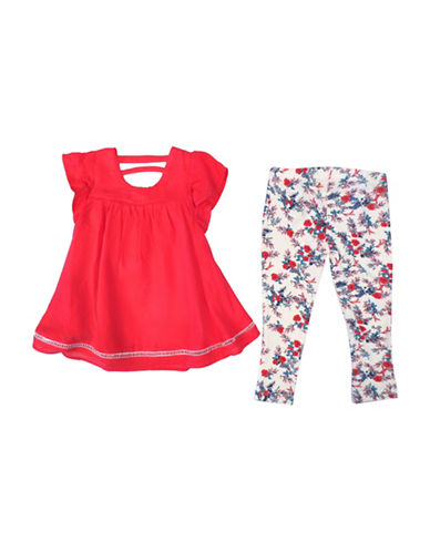 Jessica Simpson Two-Piece Tunic and Leggings Set-RED-12 Months