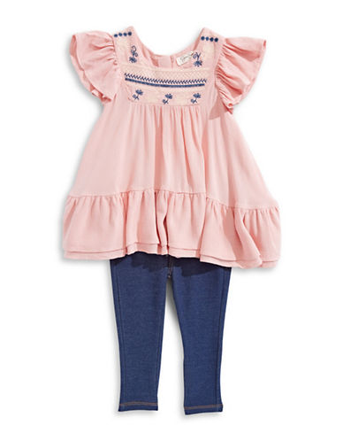 Jessica Simpson Embroidered Ruffle Shirt And Pants Set-BLOSSOM-3T