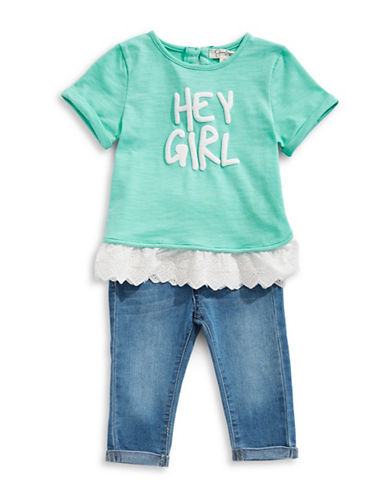 Jessica Simpson Two-Piece Top and Jeggings Set-BLUE-12 Months
