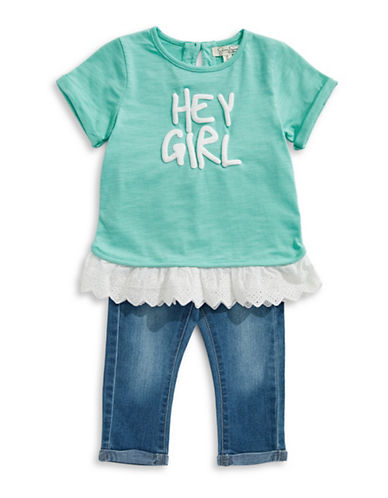 Jessica Simpson Graphic Shirt And Jeans Set-BLUE-5