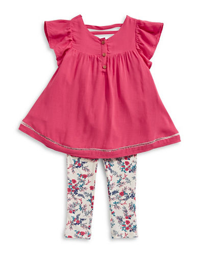 Jessica Simpson Ruffle Top And Floral Pants Set-TEABERRY-6X