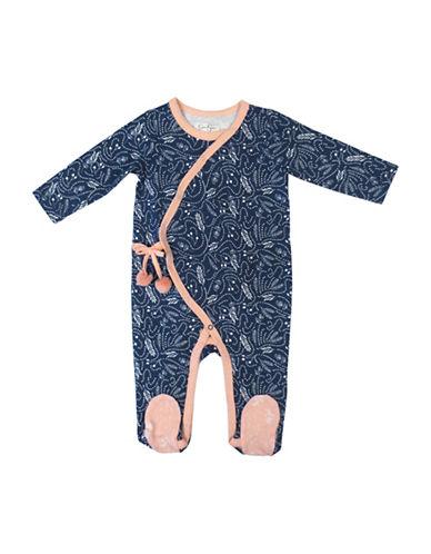 Jessica Simpson Cotton Printed Long Sleeve Footies-BLUE-0-3 Months