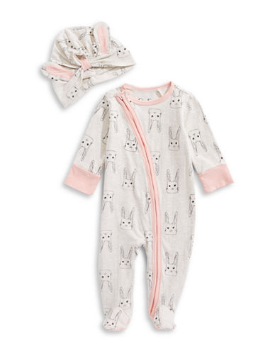 Jessica Simpson Two-Piece Footie and Hat Set-BEIGE-3-6 Months