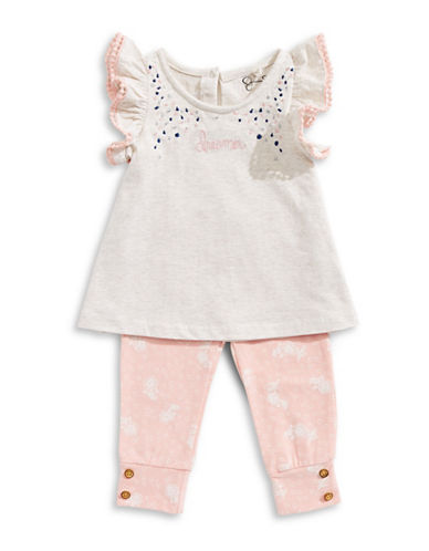 Jessica Simpson Two-Piece Top and Legging Set-BEIGE-6-9 Months
