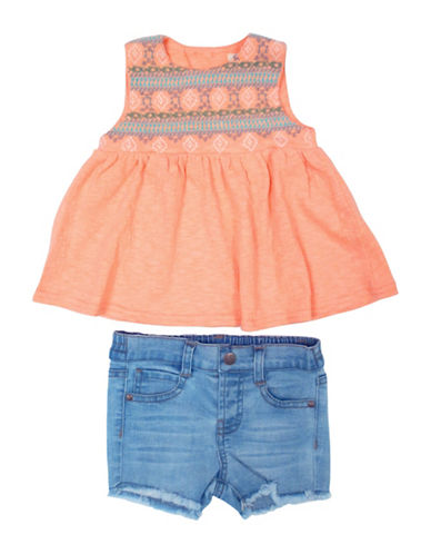 Jessica Simpson Two-Piece Tribal Safari Tank and Jean Shorts Set-PAPAYA-18 Months