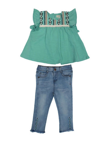 Jessica Simpson Two-Piece Tribal Safari Top and Jeans Set-POOL BLUE-24 Months