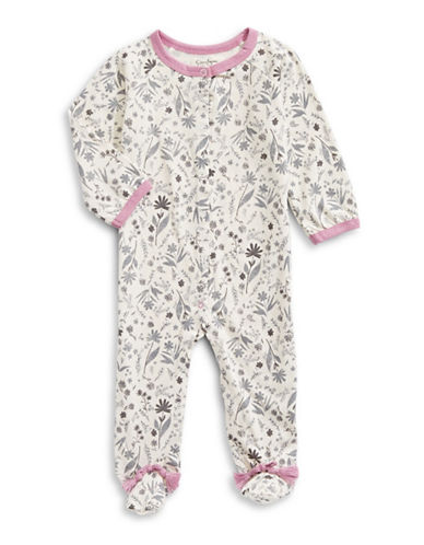 Jessica Simpson Sleeper Cotton Footie-BEIGE-3-6 Months
