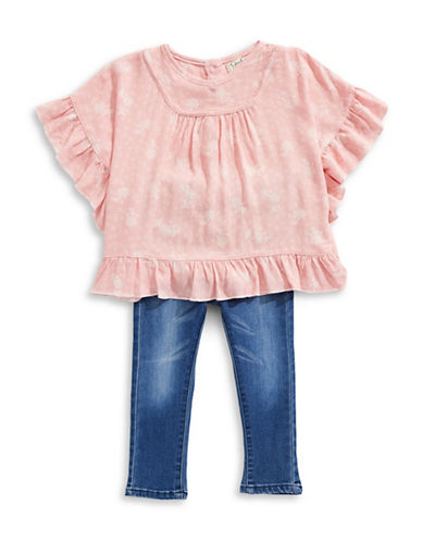 Jessica Simpson Two-Piece Ruffled Top and Whiskered Jeans Set-ORANGE-12 Months