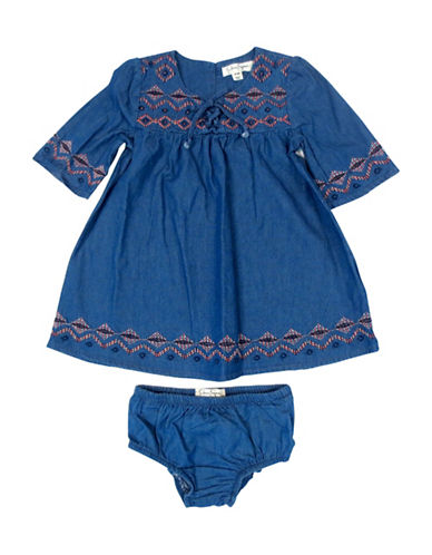Jessica Simpson Two-Piece Dress and Diaper Cover Set-BLUE-18 Months