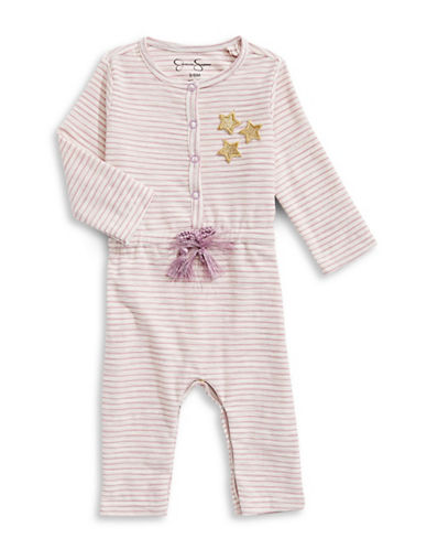 Jessica Simpson Stripe Coverall-WHITE-3-6 Months
