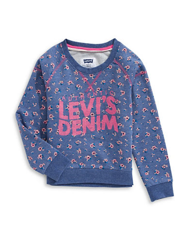 LeviS Cammie Crew Neck Long-Sleeve Cotton Sweater-BLUE-3T