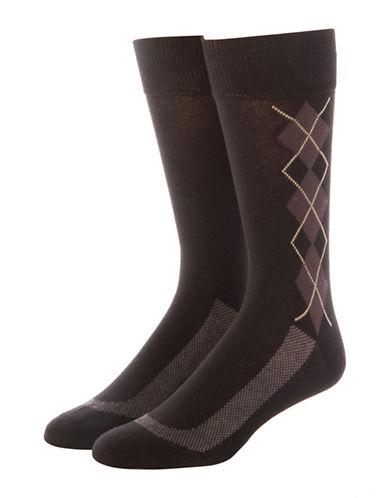 Jockey Mens Two-Pack Stay Cool Dress Argyle Socks-BLACK-10