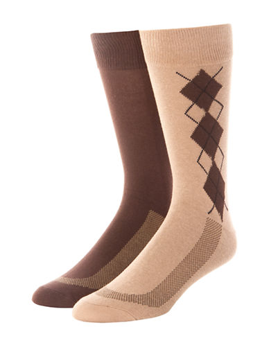 Jockey Mens Two-Pack Stay Cool Dress Argyle Socks-BEIGE-10
