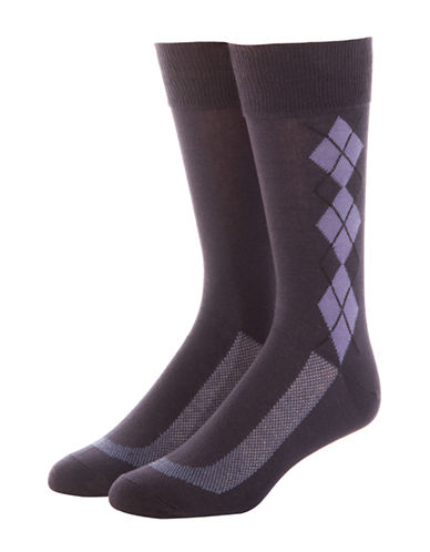 Jockey Mens Two-Pack Stay Cool Dress Argyle Socks-BLUE-10