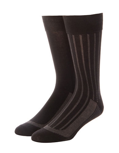 Jockey Mens Two-Pack Stay Cool Vertical Stripes Socks-BLACK-10