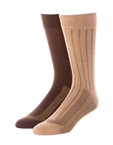 Jockey Mens Two-Pack Stay Cool Vertical Stripes Socks-BEIGE-10