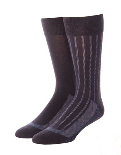 Jockey Mens Two-Pack Stay Cool Vertical Stripes Socks-BLUE-10