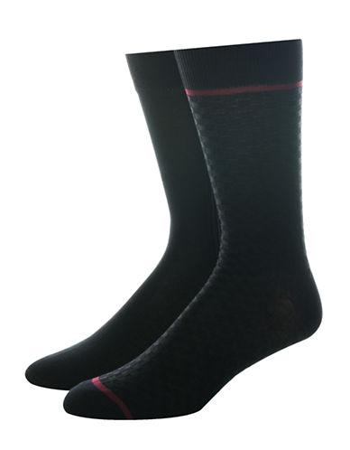 Jockey Mens Two-Pair Woven Dress Socks-BLACK-10