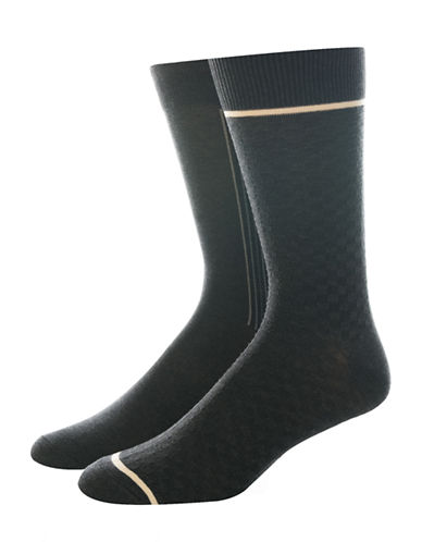 Jockey Two-Pair Woven Dress Socks-GREY-10-12