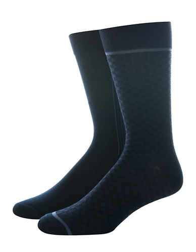 Jockey Mens Two-Pair Woven Dress Socks-NAVY-10