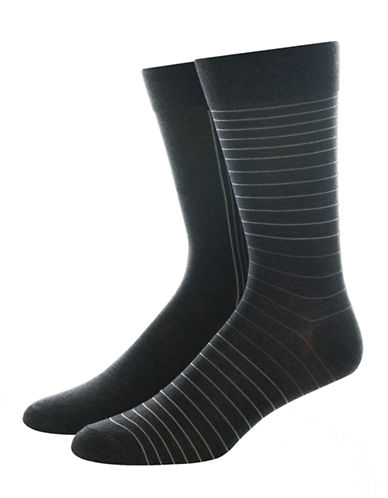 Jockey Two-Pair Striped Dress Socks-GREY-10-12