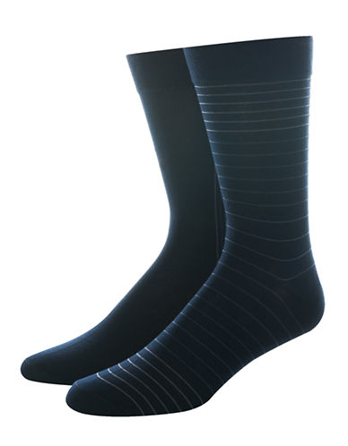 Jockey Mens Two-Pair Striped Dress Socks-NAVY-10