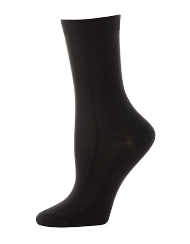 Silks Textured Herringbone Crew Socks-BLACK-One Size