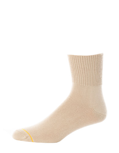 Goldtoe Mens Diabetic Solutions Mid-Crew Socks-BEIGE-10