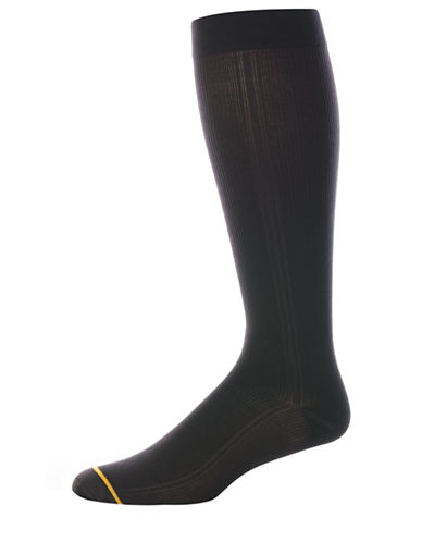Goldtoe Mens Ribbed Compression Socks-BLACK-10